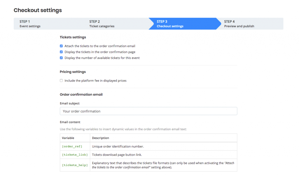 Checkout page on Oveit - event settings