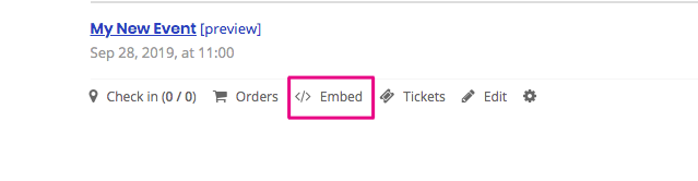 Embed option for the event registration form - Oveit, event management software