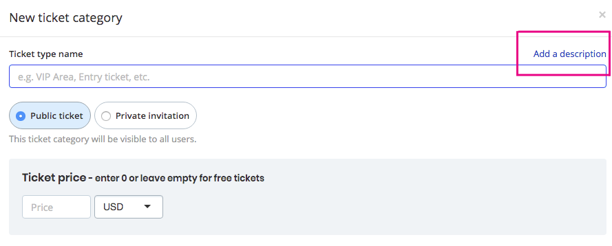 how to add description to ticket categories