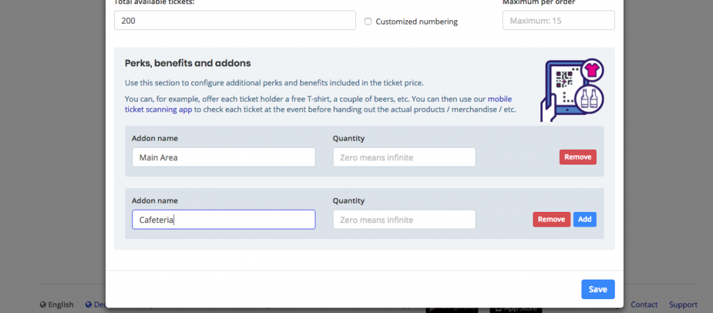 print screen on how to add Perks when setting up a ticket category