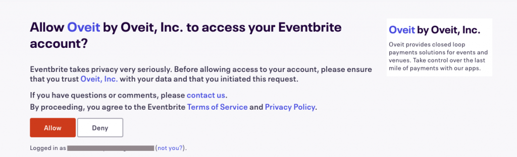 print screen from eventbrite - allow access to Oveit.inc