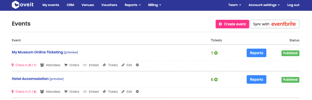 print screen from Oveit Dashboard