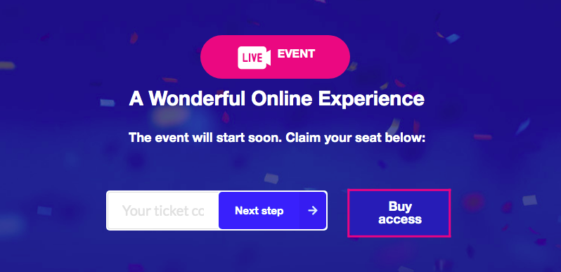 Option to buy tickets available on Streams.live
