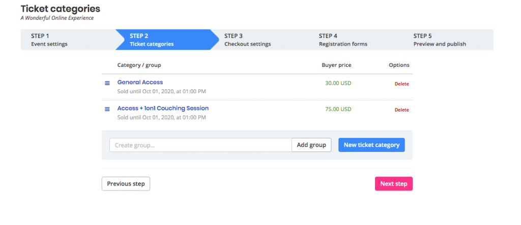 print screen from Oveit's Dashboard - ticket categories