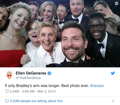 print screen of Ellen DeGeneres's tweet from the Oscars