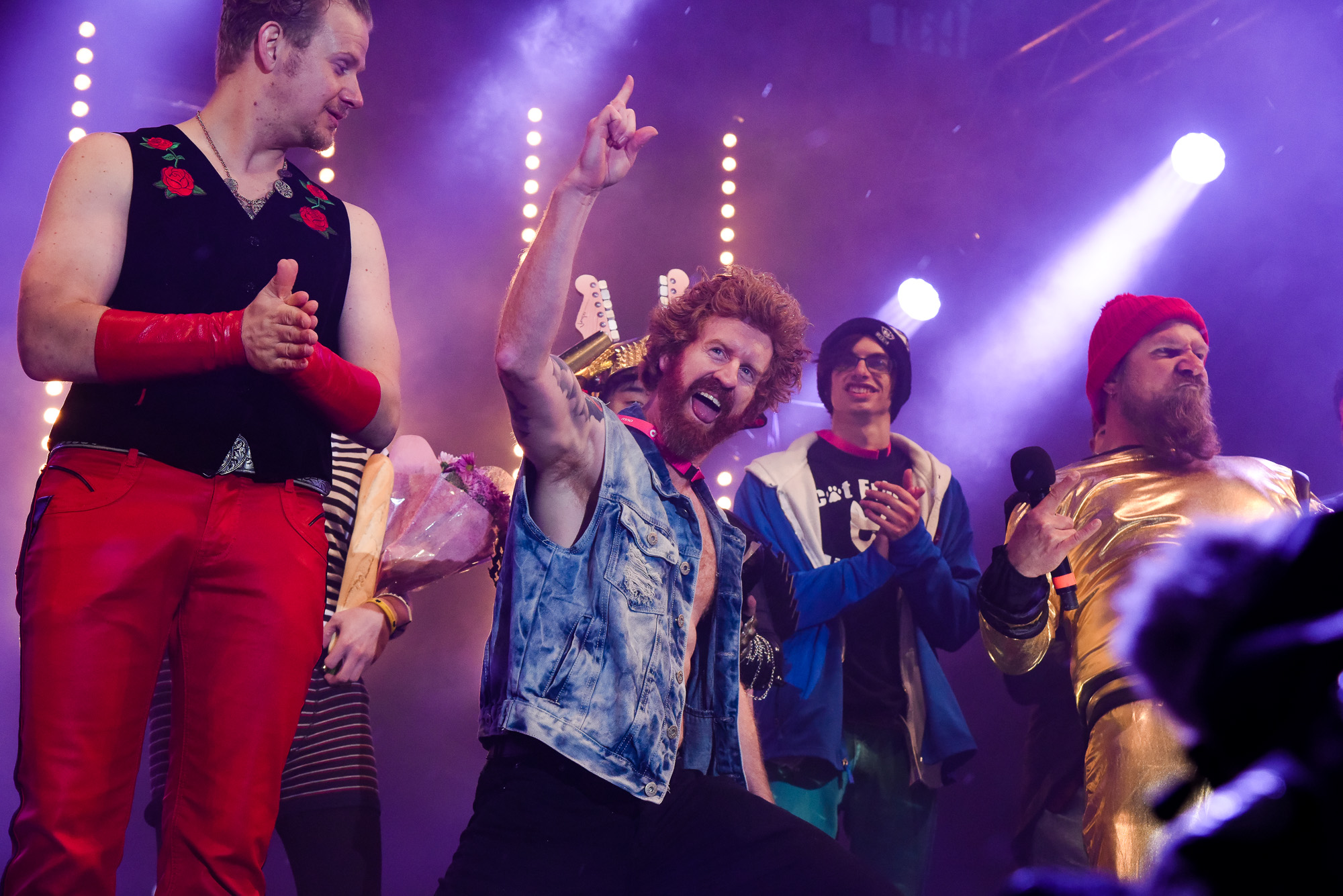 participants on stage at Air Guitar Festival
