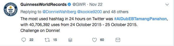 Twitter capture of GuinessWorldRecord account