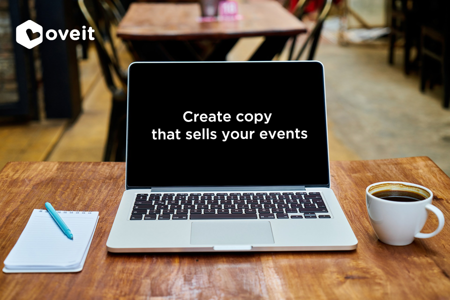 "open laptop with ""create copy that sells your events"" text"