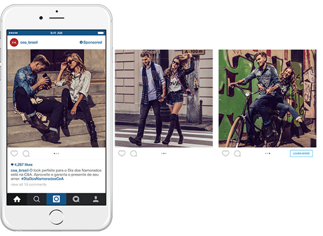 series of 3 pictures showing how carousel works on Instagram