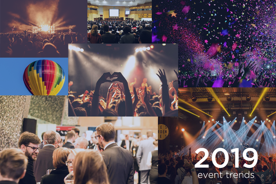 "images from multiple events and the text ""2019 event trends"""