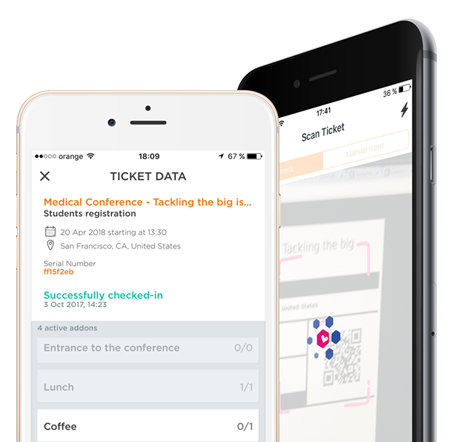 electronic ticket scanned by a mobile app
