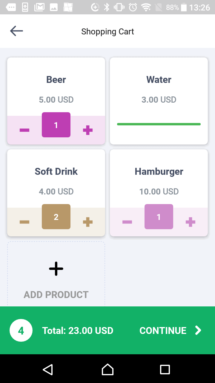 Oveit Pay app - list of products for a vendor account