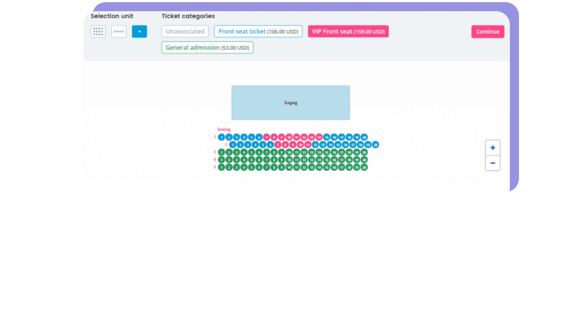 print screen with the venue seating plan from the Oveit dashboard